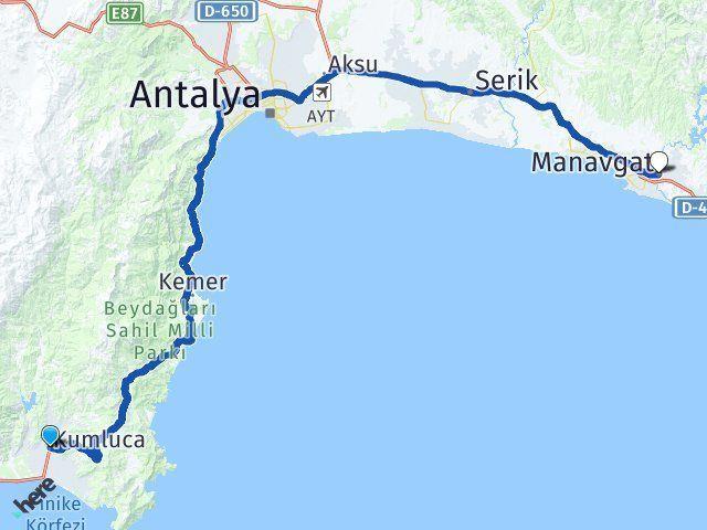 Antalya Kumluca Manavgat Arası Kaç Km? Arası Kaç Km Saat? Nerede Yol Haritası Yakıt, Rota ve Mesafe Hesaplama