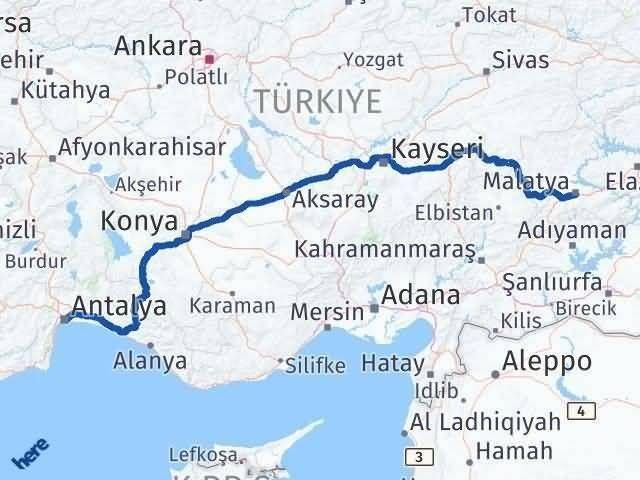 Antalya ile Malatya Arası Kaç Km? Kaç Saat? Arası Kaç Km Saat? Nerede Yol Haritası Yakıt, Rota ve Mesafe Hesaplama