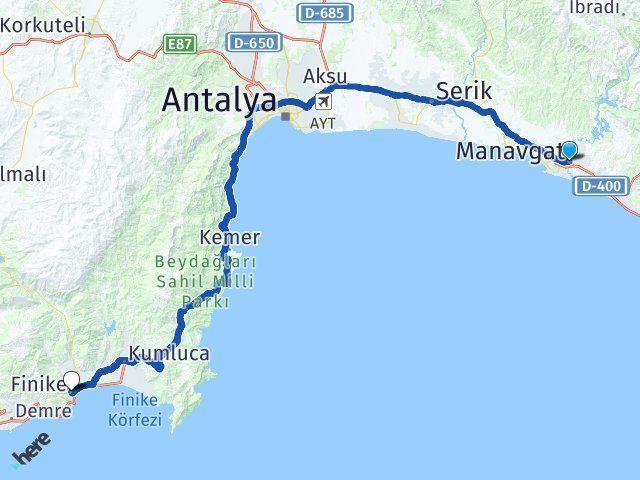 Antalya Manavgat Finike Arası Kaç Km? Arası Kaç Km Saat? Nerede Yol Haritası Yakıt, Rota ve Mesafe Hesaplama