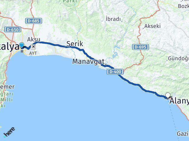 Antalya Muratpaşa Alanya Arası Kaç Km? Arası Kaç Km Saat? Nerede Yol Haritası Yakıt, Rota ve Mesafe Hesaplama