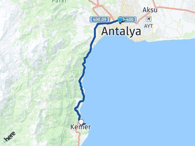 Antalya Muratpaşa Kemer Antalya Arası Kaç Km? Arası Kaç Km Saat? Nerede Yol Haritası Yakıt, Rota ve Mesafe Hesaplama