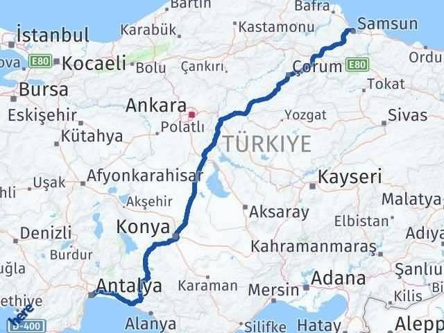 Antalya ile Samsun Arası Kaç Km? Kaç Saat? Arası Kaç Km Saat? Nerede Yol Haritası Yakıt, Rota ve Mesafe Hesaplama