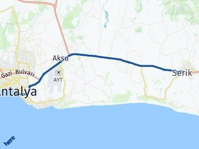 Antalya Serik Arası Kaç Km? Yol Haritası - Km Hesaplama Arası Kaç Km Saat? Nerede Yol Haritası Yakıt, Rota ve Mesafe Hesaplama