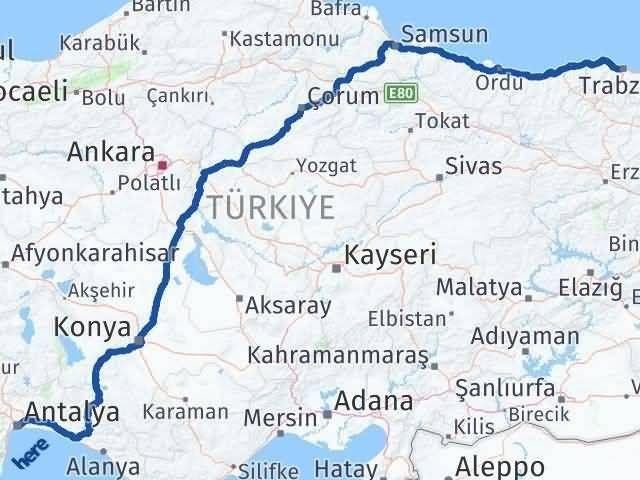 Antalya ile Trabzon Arası Kaç Km? Kaç Saat? Arası Kaç Km Saat? Nerede Yol Haritası Yakıt, Rota ve Mesafe Hesaplama