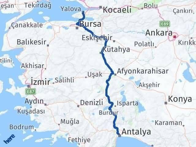 Antalya ile Yalova Arası Kaç Km? Kaç Saat? Arası Kaç Km Saat? Nerede Yol Haritası Yakıt, Rota ve Mesafe Hesaplama
