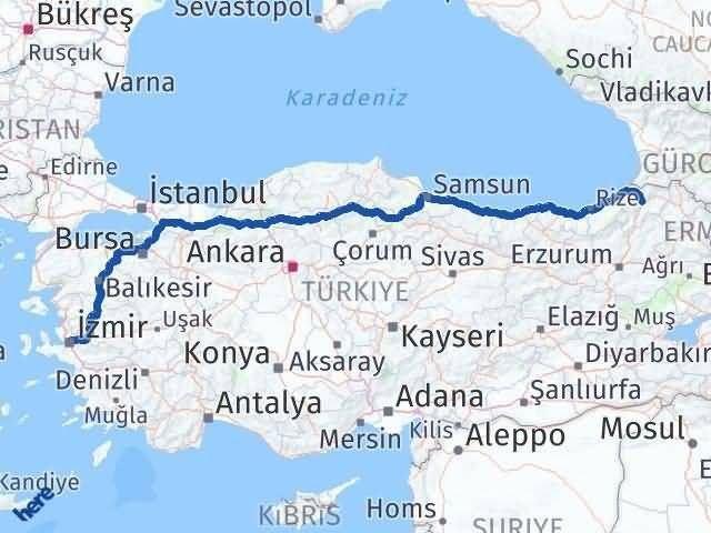 Artvin İzmir Arası Kaç Km - Kaç Saat? Arası Kaç Km Saat? Nerede Yol Haritası Yakıt, Rota ve Mesafe Hesaplama