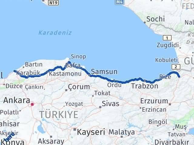 Artvin ile Zonguldak Arası Kaç Km? Kaç Saat? Arası Kaç Km Saat? Nerede Yol Haritası Yakıt, Rota ve Mesafe Hesaplama