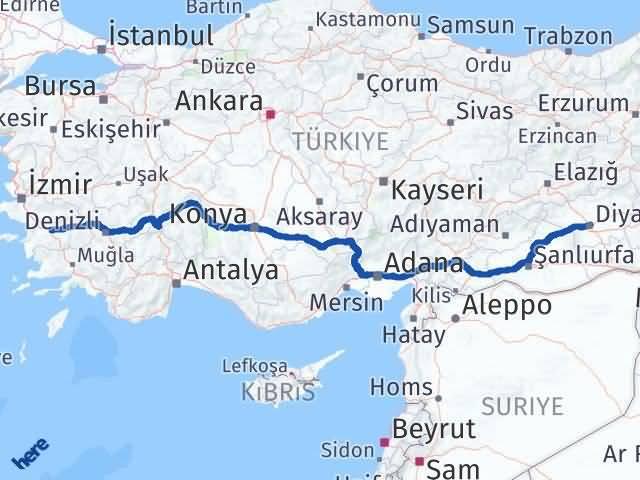 Aydın ile Diyarbakır Arası Kaç Km? Kaç Saat? Arası Kaç Km Saat? Nerede Yol Haritası Yakıt, Rota ve Mesafe Hesaplama