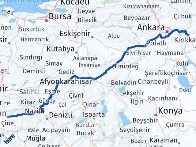 Aydın ile Kırıkkale Arası Kaç Km? Kaç Saat? Arası Kaç Km Saat? Nerede Yol Haritası Yakıt, Rota ve Mesafe Hesaplama
