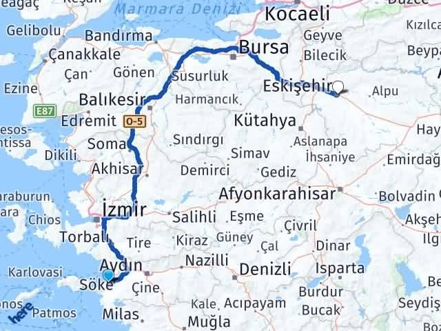 Kuşadası Davutlar Eskişehir Arası Kaç Km? Arası Kaç Km Saat? Nerede Yol Haritası Yakıt, Rota ve Mesafe Hesaplama