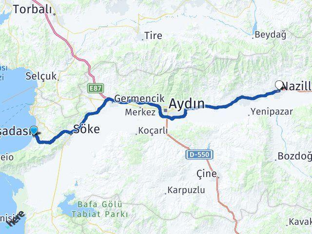 Aydın Kuşadası Nazilli Arası Kaç Km? Arası Kaç Km Saat? Nerede Yol Haritası Yakıt, Rota ve Mesafe Hesaplama