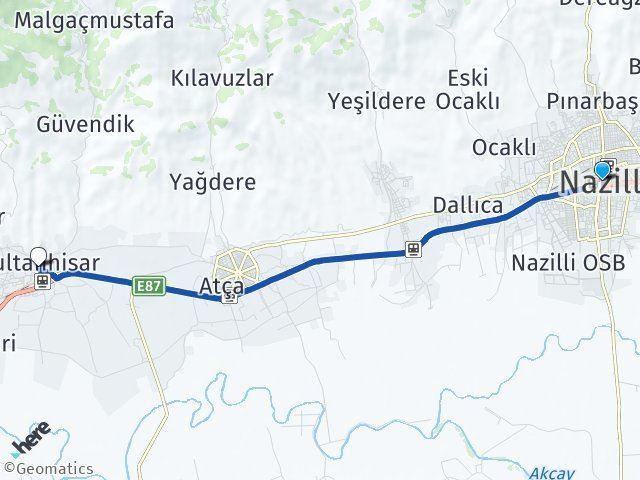 Aydın Nazilli Sultanhisar Arası Kaç Km? Arası Kaç Km Saat? Nerede Yol Haritası Yakıt, Rota ve Mesafe Hesaplama