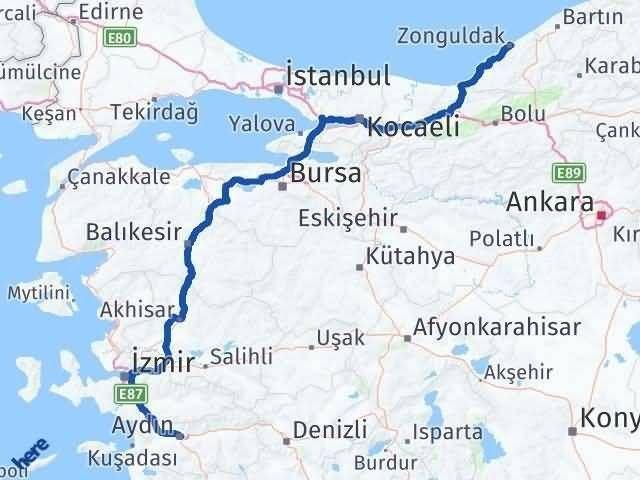 Aydın ile Zonguldak Arası Kaç Km? Kaç Saat? Arası Kaç Km Saat? Nerede Yol Haritası Yakıt, Rota ve Mesafe Hesaplama