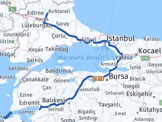 Balıkesir Burhaniye   Kırklareli Arası Kaç Km? Arası Kaç Km Saat? Nerede Yol Haritası Yakıt, Rota ve Mesafe Hesaplama