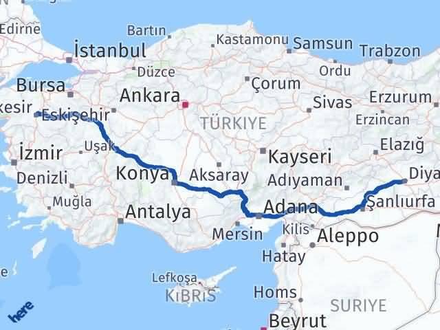Balıkesir Diyarbakır Arası Kaç Km? Arası Kaç Km Saat? Nerede Yol Haritası Yakıt, Rota ve Mesafe Hesaplama