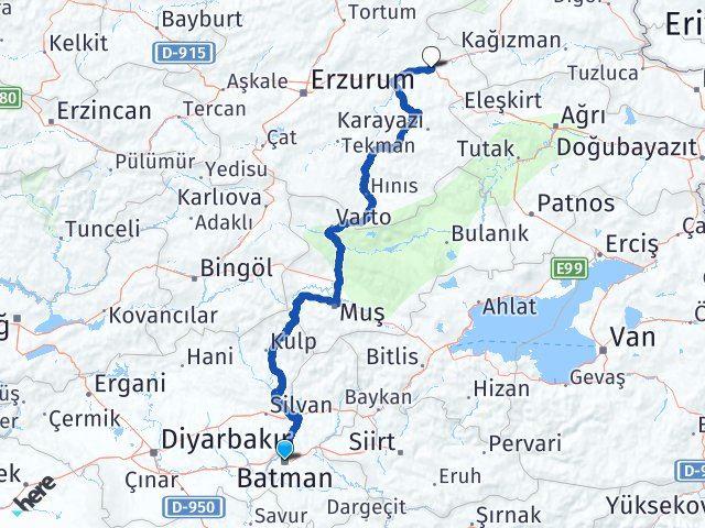 Batman Horasan Erzurum Arası Kaç Km? - Kmhesaplama.com Arası Kaç Km Saat? Nerede Yol Haritası Yakıt, Rota ve Mesafe Hesaplama