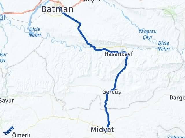 Batman Midyat Mardin Arası Kaç Km? - Kmhesaplama.com Arası Kaç Km Saat? Nerede Yol Haritası Yakıt, Rota ve Mesafe Hesaplama