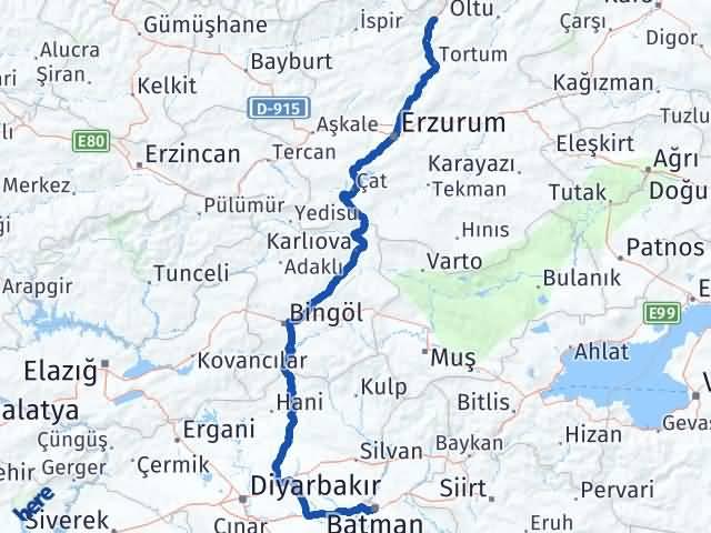 Batman Uzundere Erzurum Arası Kaç Km? - Kmhesaplama.com Arası Kaç Km Saat? Nerede Yol Haritası Yakıt, Rota ve Mesafe Hesaplama