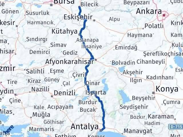 Bilecik ile Antalya Arası Kaç Km? Kaç Saat? Arası Kaç Km Saat? Nerede Yol Haritası Yakıt, Rota ve Mesafe Hesaplama
