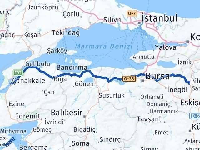 Bilecik ile Çanakkale Arası Kaç Km? Kaç Saat? Arası Kaç Km Saat? Nerede Yol Haritası Yakıt, Rota ve Mesafe Hesaplama
