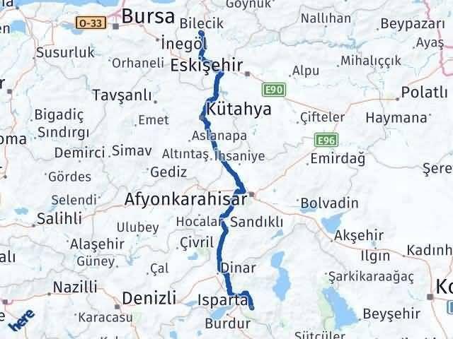 Bilecik ile Isparta Arası Kaç Km? Kaç Saat? Arası Kaç Km Saat? Nerede Yol Haritası Yakıt, Rota ve Mesafe Hesaplama