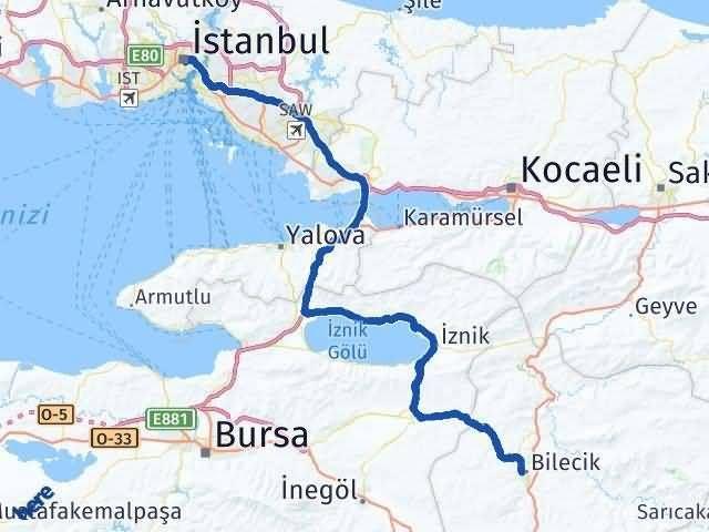 Bilecik ile İstanbul Arası Kaç Km? Kaç Saat? Arası Kaç Km Saat? Nerede Yol Haritası Yakıt, Rota ve Mesafe Hesaplama