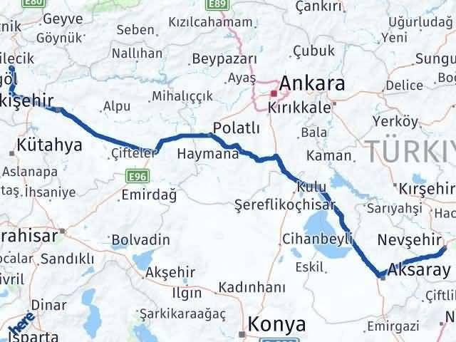 Bilecik ile Nevşehir Arası Kaç Km? Kaç Saat? Arası Kaç Km Saat? Nerede Yol Haritası Yakıt, Rota ve Mesafe Hesaplama