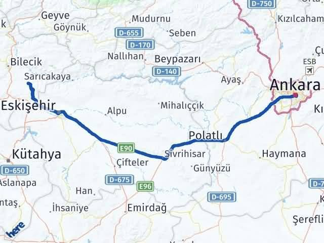 Bilecik Söğüt Ankara Arası Kaç Km? Arası Kaç Km Saat? Nerede Yol Haritası Yakıt, Rota ve Mesafe Hesaplama