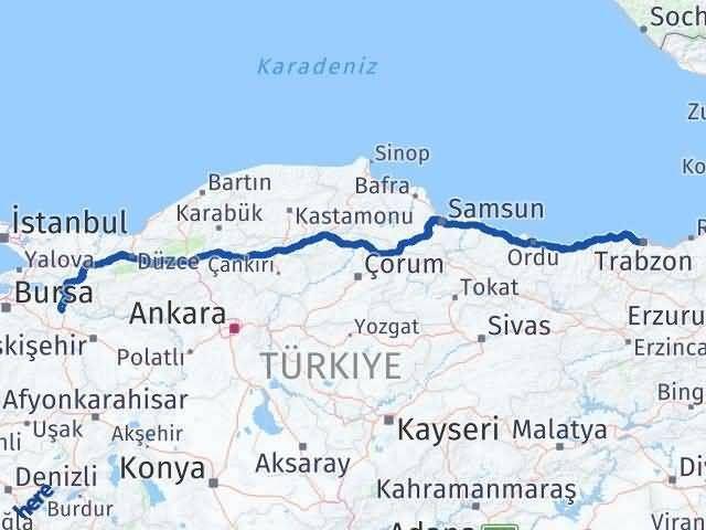 Bilecik ile Trabzon Arası Kaç Km? Kaç Saat? Arası Kaç Km Saat? Nerede Yol Haritası Yakıt, Rota ve Mesafe Hesaplama