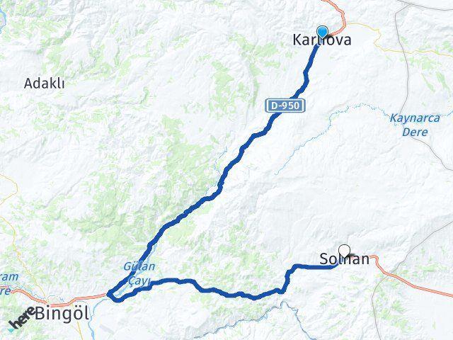 Bingöl Karlıova Solhan Arası Kaç Km? Arası Kaç Km Saat? Nerede Yol Haritası Yakıt, Rota ve Mesafe Hesaplama