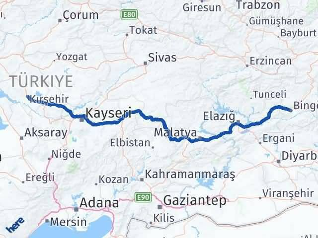 Bingöl ile Kırşehir Arası Kaç Km? Kaç Saat? Arası Kaç Km Saat? Nerede Yol Haritası Yakıt, Rota ve Mesafe Hesaplama
