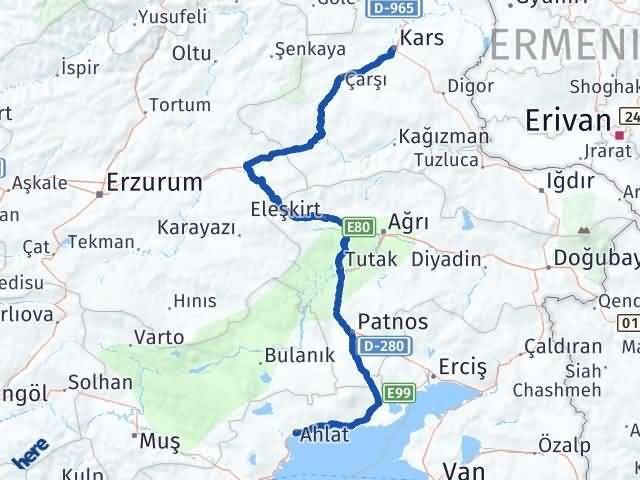 Bitlis Ahlat Kars Arası Kaç Km? Arası Kaç Km Saat? Nerede Yol Haritası Yakıt, Rota ve Mesafe Hesaplama
