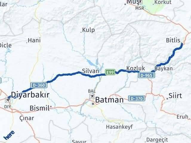 Bitlis ile Diyarbakır Arası Kaç Km? Kaç Saat? Arası Kaç Km Saat? Nerede Yol Haritası Yakıt, Rota ve Mesafe Hesaplama