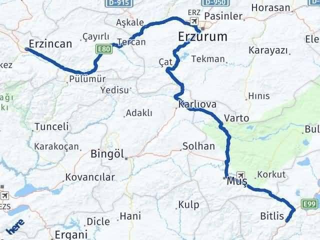 Bitlis ile Erzincan Arası Kaç Km? Kaç Saat? Arası Kaç Km Saat? Nerede Yol Haritası Yakıt, Rota ve Mesafe Hesaplama