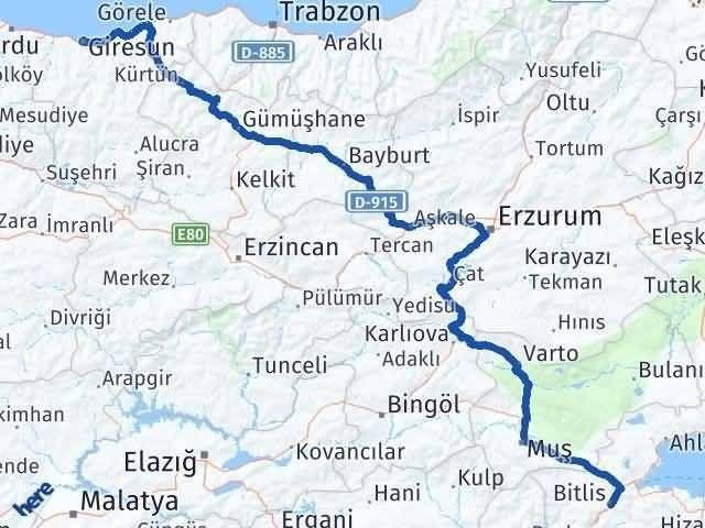Bitlis ile Giresun Arası Kaç Km? Kaç Saat? Arası Kaç Km Saat? Nerede Yol Haritası Yakıt, Rota ve Mesafe Hesaplama
