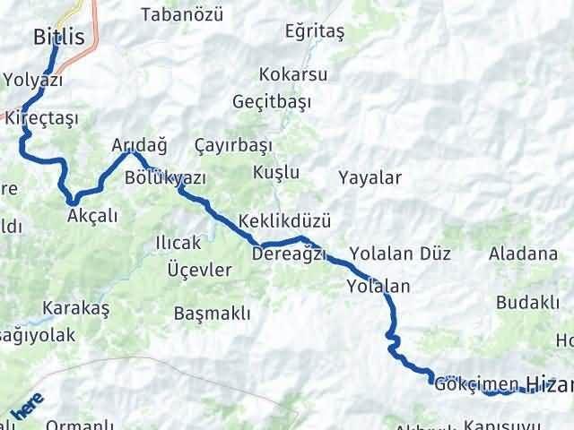 Bitlis Hizan Arası Kaç Km? Yol Haritası - Km Hesaplama Arası Kaç Km Saat? Nerede Yol Haritası Yakıt, Rota ve Mesafe Hesaplama