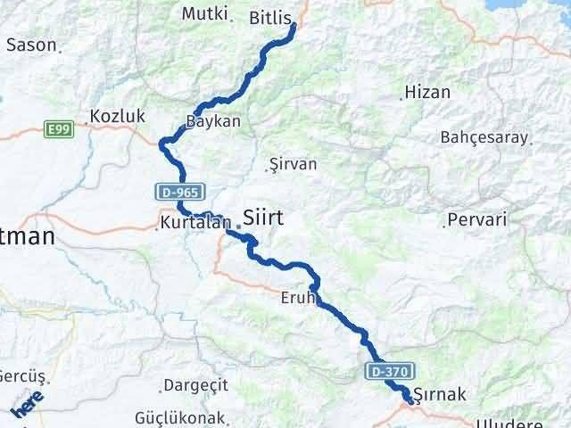 Bitlis Şırnak Arası Kaç Km - Kaç Saat? Arası Kaç Km Saat? Nerede Yol Haritası Yakıt, Rota ve Mesafe Hesaplama
