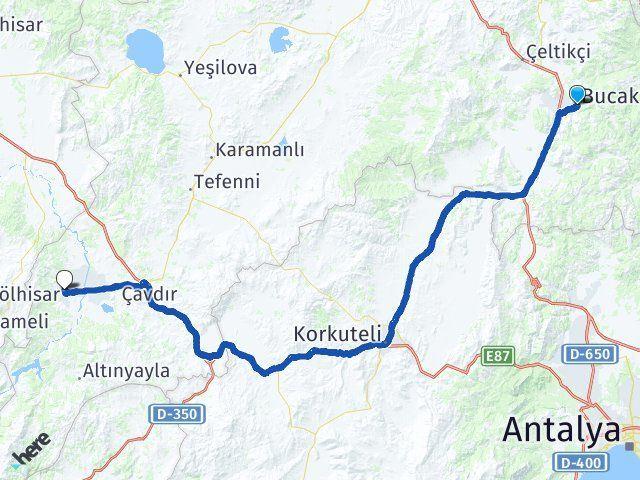 Burdur Bucak Gölhisar Arası Kaç Km? Arası Kaç Km Saat? Nerede Yol Haritası Yakıt, Rota ve Mesafe Hesaplama