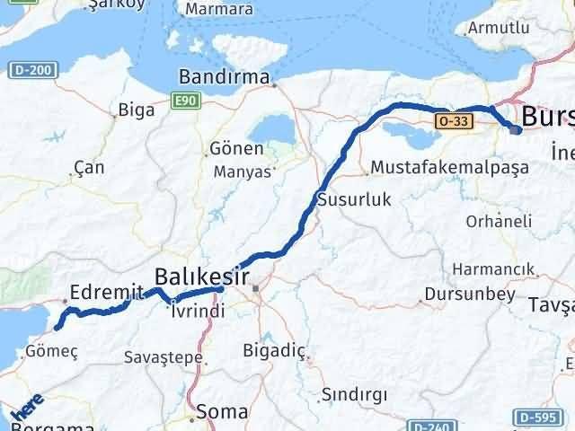 Bursa Burhaniye Arası Kaç Km? Arası Kaç Km Saat? Nerede Yol Haritası Yakıt, Rota ve Mesafe Hesaplama