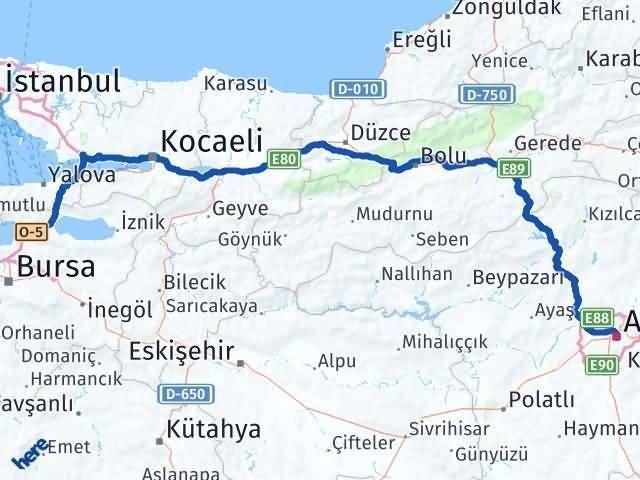 Bursa Gemlik Ankara Arası Kaç Km? Arası Kaç Km Saat? Nerede Yol Haritası Yakıt, Rota ve Mesafe Hesaplama