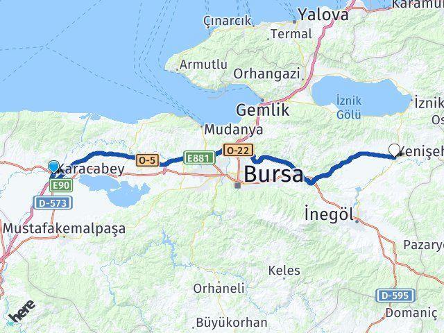 Bursa Karacabey Yenişehir Bursa Arası Kaç Km? Arası Kaç Km Saat? Nerede Yol Haritası Yakıt, Rota ve Mesafe Hesaplama