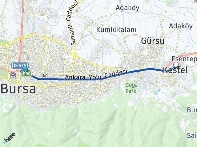 Bursa Osmangazi Kestel Arası Kaç Km? Arası Kaç Km Saat? Nerede Yol Haritası Yakıt, Rota ve Mesafe Hesaplama