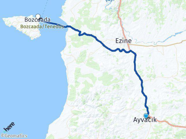 Ayvacık Çanakkale Bozcaada Arası Kaç Km? Arası Kaç Km Saat? Nerede Yol Haritası Yakıt, Rota ve Mesafe Hesaplama