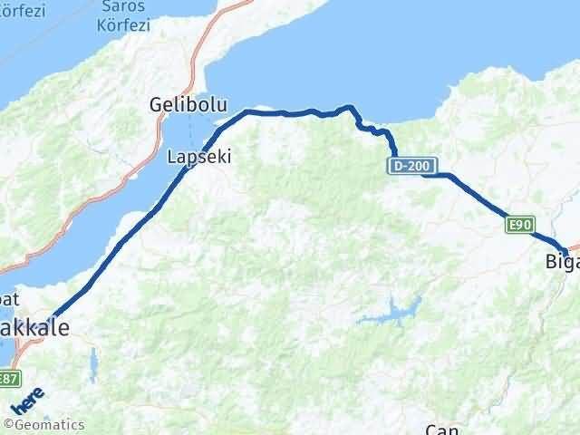 Çanakkale Biga Arası Kaç Km? Yol Haritası - Km Hesaplama Arası Kaç Km Saat? Nerede Yol Haritası Yakıt, Rota ve Mesafe Hesaplama