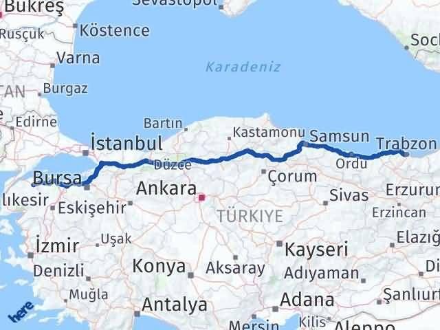 Çanakkale Biga Trabzon Arası Kaç Km? Arası Kaç Km Saat? Nerede Yol Haritası Yakıt, Rota ve Mesafe Hesaplama