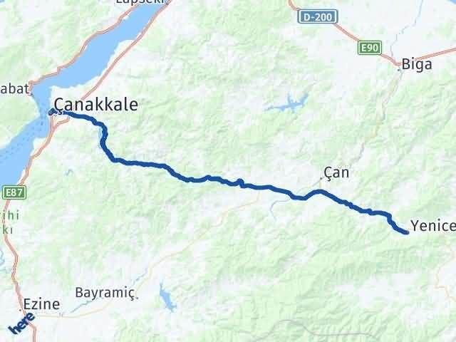 Çanakkale Yenice Arası Kaç Km? Yol Haritası - Km Hesaplama Arası Kaç Km Saat? Nerede Yol Haritası Yakıt, Rota ve Mesafe Hesaplama