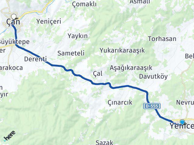 Yenice Çanakkale Çan Arası Kaç Km? Arası Kaç Km Saat? Nerede Yol Haritası Yakıt, Rota ve Mesafe Hesaplama