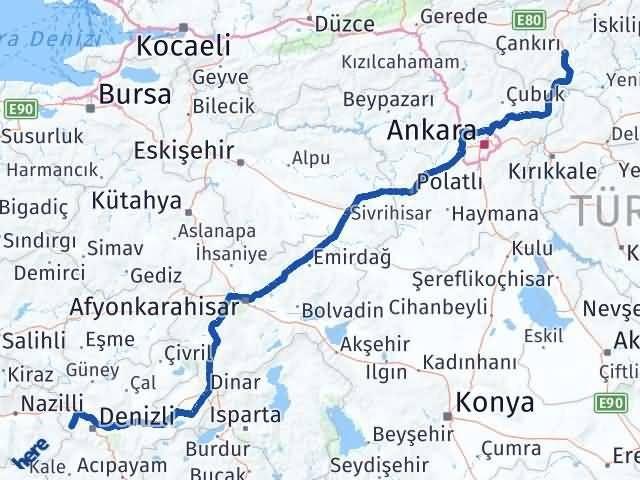 Çankırı Babadağ Denizli Arası Kaç Km? - Kmhesaplama.com Arası Kaç Km Saat? Nerede Yol Haritası Yakıt, Rota ve Mesafe Hesaplama