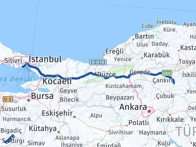 Çankırı Bahçelievler İstanbul Arası Kaç Km? Arası Kaç Km Saat? Nerede Yol Haritası Yakıt, Rota ve Mesafe Hesaplama