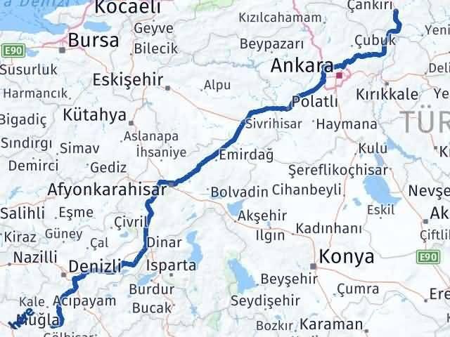 Çankırı Beyağaç Denizli Arası Kaç Km? - Kmhesaplama.com Arası Kaç Km Saat? Nerede Yol Haritası Yakıt, Rota ve Mesafe Hesaplama